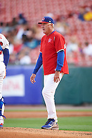 Buffalo Bisons pitching coach Bob Stanley (46) walks to the mound during a game against the Lehigh Valley IronPigs on July 9, 2016 at Coca-Cola Field in Buffalo, New York.  Lehigh Valley defeated Buffalo 9-1 in a rain shortened game.  (Mike Janes/Four Seam Images)