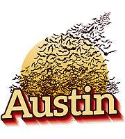 Bats take flight over Austin — Design and Illustration Graphic Element for posters, cards, t-shirts and banners.