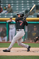 Noel Cuevas (2) of the Albuquerque Isotopes bats against the Salt Lake Bees at Smith's Ballpark on April 8, 2018 in Salt Lake City, Utah. Albuquerque defeated Salt Lake 11-4. (Stephen Smith/Four Seam Images)