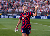 EAST HARTFORD, CT - JULY 5: Abby Dahlkemper #17 of the USWNT waves to the crowd during a game between Mexico and USWNT at Rentschler Field on July 5, 2021 in East Hartford, Connecticut.