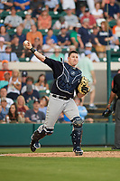 New York Yankees catcher Ryan Lavarnway (30) throws to first base after catching a pop up foul ball during a Grapefruit League Spring Training game against the Detroit Tigers on February 27, 2019 at Publix Field at Joker Marchant Stadium in Lakeland, Florida.  Yankees defeated the Tigers 10-4 as the game was called after the sixth inning due to rain.  (Mike Janes/Four Seam Images)
