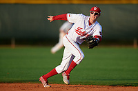 Indiana Hoosiers second baseman Colby Stratten (36) during a game against the Rutgers Scarlet Knights on February 23, 2018 at North Charlotte Regional Park in Port Charlotte, Florida.  Indiana defeated Rutgers 7-6.  (Mike Janes/Four Seam Images)