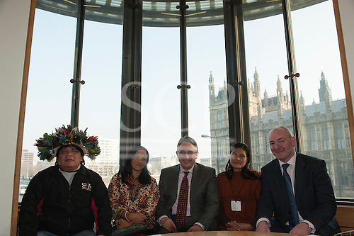 Chief Almir Narayamoga Surui, Sheyla Yakarepi Juruna, Martin Horwood MP and Ruth Buendia Mestoquiari Ashaninka at Portcullis House.