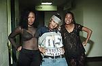 Da Brat aka Shawntae Harris & member of Total (Keisha Spivey Epps & Kima Raynor) back stage at the K104 Summer Jam at Reunion Arena in Dallas, Texas on July 20, 1994.  Photo credit:  Presswire News/Elgin Edmonds