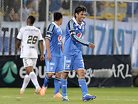 BOGOTÁ -COLOMBIA, 27-04-2014. Fabian Vargas jugador de Millonarios sonrie al final del  encuentro de ida entre La Equidad y Millonarios por los cuartos de final de la Liga Postobón I 2014 jugado en el estadio Metropolitano de Techo de la ciudad de Bogotá./ Fabian Vargas player of Millonario smiles after the first leg match between La Equidad and Millonarios for quarter finals of the Postobon League I 2014 played at Metropolitano de Techo stadium in Bogotá city. Photo: VizzorImage/ Gabriel Aponte / Staff