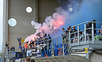 20150514 - BEVEREN , BELGIUM : Fans pictured from Bruges during the final of Belgian cup, a soccer women game between SK Lierse Dames and Club Brugge Vrouwen , in stadion Freethiel Beveren , Thursday 14 th May 2015 . PHOTO DAVID CATRY