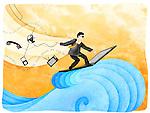 Businessman surfing the net