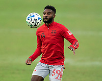 WASHINGTON, DC - SEPTEMBER 12: Mandela Egbo #39 of the New York Red Bulls warms up before a game between New York Red Bulls and D.C. United at Audi Field on September 12, 2020 in Washington, DC.