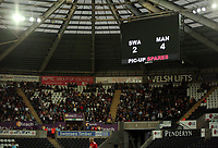 The final score on the scoreboard during the Alan Tate Testimonial Match, Swansea City Legends v Manchester United Legends at the Liberty Stadium, Swansea, Wales, UK