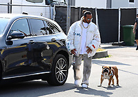9th September 2021; Nationale di Monza, Monza, Italy; FIA Formula 1 Grand Prix of Italy, Driver arrival and inspection day:  Lewis Hamilton GBR 44, Mercedes-AMG Petronas Formula One Team arrives with dog Roscoe.