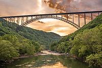 New River Gorge National Park, West Virginia.  New River Gorge Bridge, US Highway 19.