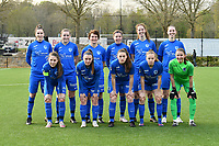 (Top row left to right) Gwen Duijsters (13) of KRC Genk, Sterre Gielen (14) of KRC Genk, Lotte Van Den Steen (15) of KRC Genk, Lorene Martin (6) of KRC Genk, Hanne Merkelbach (25) of KRC Genk, Caro Gielen (5) of KRC Genk (front row left to right) Sien Vandersanden (10) of KRC Genk, Fleur Pauwels (66) of KRC Genk, Emily Steijvers (33) of KRC Genk, Luna Vanhoudt (43) of KRC Genk and goalkeeper Josephine Delvaux (1) of KRC Genk pose for the team photo before a female soccer game between Sporting Charleroi and KRC Genk on the 4 th matchday in play off 2 of the 2020 - 2021 season of Belgian Scooore Womens Super League , friday 30 th of April 2021  in Marcinelle , Belgium . PHOTO SPORTPIX.BE | SPP | Jill Delsaux