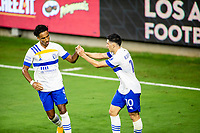 LOS ANGELES, CA - SEPTEMBER 02: Danny Hoesen scores and team mate Cristian Espinoza #10 of the San Jose Earthquakes congratulaes him during a game between San Jose Earthquakes and Los Angeles FC at Banc of California stadium on September 02, 2020 in Los Angeles, California.