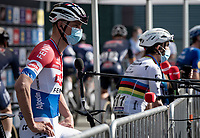 Mathieu Van der Poel (NED/Alpecin-Fenix) interviewed at the race start (with World Champion Julian Alaphilippe in the background)<br /> <br /> 76th Dwars door Vlaanderen 2021 (MEN1.UWT)<br /> 1 day race from Roeselare to Waregem (184km)<br /> <br /> ©kramon
