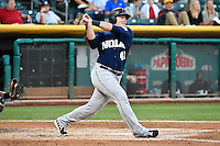 Justin Bour (41) of the New Orleans Zephyrs at bat against the Salt Lake Bees in Pacific Coast League action at Smith's Ballpark on August 27, 2014 in Salt Lake City, Utah.  (Stephen Smith/Four Seam Images)