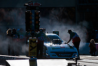 Jun 1, 2018; Joliet, IL, USA; Jim Dunn , team owner of NHRA funny car driver Jim Campbell during qualifying for the Route 66 Nationals at Route 66 Raceway. Mandatory Credit: Mark J. Rebilas-USA TODAY Sports