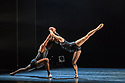 """Ballet Black present a Triple Bill Featuring """"Ingoma"""" in the Barbican Theatre. The piece shown is: Pendulum. The choreographer is Martin Lawrance. Design is by Peter Todd with lighting design by David Plater. Picture shows: Sayaka Ichikawa and Mthuthuzeli November."""