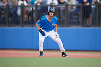 Hudson Valley Renegades center fielder Tanner Dodson (10) leads off first base during a game against the Tri-City ValleyCats on August 24, 2018 at Dutchess Stadium in Wappingers Falls, New York.  Hudson Valley defeated Tri-City 4-0.  (Mike Janes/Four Seam Images)