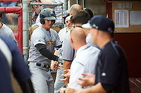 Trenton Thunder first baseman Tyler Austin (17) goes down the line celebrating a home run with teammates during a game against the Binghamton Mets on May 29, 2016 at NYSEG Stadium in Binghamton, New York.  Trenton defeated Binghamton 2-0.  (Mike Janes/Four Seam Images)