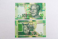 South Africa, Currency Showing Nelson Mandela.  Ten Rand, front and back.