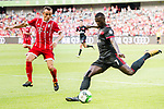 AC Milan Forward MBaye Niang (R) plays against Bayern Munich Defender Rafinha de Souza (L) during the 2017 International Champions Cup China  match between FC Bayern and AC Milan at Universiade Sports Centre Stadium on July 22, 2017 in Shenzhen, China. Photo by Marcio Rodrigo Machado / Power Sport Images