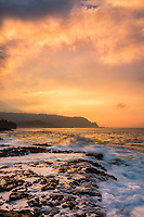 Explosive sunset over the North Shore of Kaua'i as seen from the Queens' Bath area.
