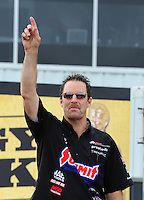 Apr. 29, 2012; Baytown, TX, USA: NHRA pro stock driver Greg Anderson during the Spring Nationals at Royal Purple Raceway. Mandatory Credit: Mark J. Rebilas-
