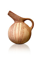 Early Minoan rounded jug with typical brownish red painted converging daigonal lines,  Hagios Onouphrios 2900-1900 BC BC, Heraklion Archaeological  Museum, white background.