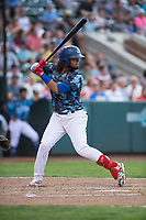 Ogden Raptors shortstop Ronny Brito (5) at bat during a Pioneer League game against the Billings Mustangs at Lindquist Field on August 17, 2018 in Ogden, Utah. The Billings Mustangs defeated the Ogden Raptors by a score of 6-3. (Zachary Lucy/Four Seam Images)
