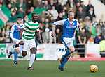 St Johnstone v Celtic…04.11.17…  McDiarmid Park…  SPFL<br />Steven Anderson tracked by Moussa Dembele<br />Picture by Graeme Hart. <br />Copyright Perthshire Picture Agency<br />Tel: 01738 623350  Mobile: 07990 594431