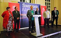 Pictured: Plaid Cymru candidate Steffan Phillips (C). Friday 09 June 2017<br /> Re: Counting of ballots at Brangwyn Hall for the general election in Swansea, Wales, UK