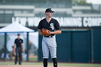 Chicago White Sox relief pitcher Lane Ramsey (44) looks in for the sign during an Instructional League game against the Oakland Athletics at Lew Wolff Training Complex on October 5, 2018 in Mesa, Arizona. (Zachary Lucy/Four Seam Images)