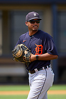 FCL Tigers East coach Francisco Contreras during practice before a game against the FCL Yankees on July 27, 2021 at the Yankees Minor League Complex in Tampa, Florida. (Mike Janes/Four Seam Images)