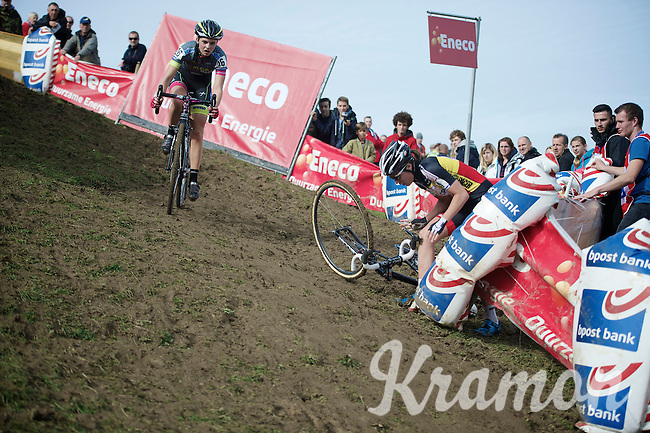 Sanne Cant (BEL/Ciclismo Mundial) getting up after crashing in the trickiest corner on the course<br /> <br /> GP Mario De Clercq<br /> Hotondcross 2014