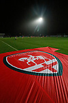 Coventry United 3 Highgate United 5, 17/10/2017. Butts Park Arena, Birmingham Senior Cup. Highgate players warming up, Coventry United banner in the foreground.  Photo by Paul Thompson.
