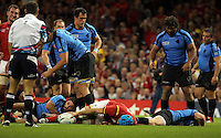 Pictured: Justin Tipuric scores a try which was later disallowed Sunday 20 September 2015<br /> Re: Rugby World Cup 2015, Wales v Uruguay at the Millennium, Stadium, Wales, UK