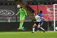 Freddie Woodman of Swansea City in action during the Sky Bet Championship match between Swansea City and Cardiff City at the Liberty Stadium in Swansea, Wales, UK. Saturday 20 March 2021