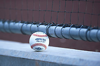 An Arizona Fall League ball rests against the dugout fence during a game between the Mesa Solar Sox and the Glendale Desert Dogs on October 28, 2017 at Sloan Park in Mesa, Arizona. The Solar Sox defeated the Desert Dogs 9-6. (Zachary Lucy/Four Seam Images)