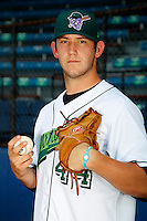 Jamestown Jammers pitcher Josh Hodges #44 poses for a photo before a game against the Mahoning Valley Scrappers at Russell E. Diethrick Jr Park on September 2, 2011 in Jamestown, New York.  Mahoning Valley defeated Jamestown 8-4.  (Mike Janes/Four Seam Images)