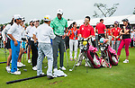 Tiger Woods and Rory McIlroy in action during 'The Match' golf duel on the Blackstone Course on October 28, 2013 at Mission Hills Golf Club in Haikou, China. Photo by Xaume Olleros / The Power of Sport Images
