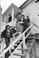Village de Saint-Jean-Vianney, dans les jours suivant le glissement de terrain du 4 mai 1971<br /> <br /> Ghislain Desmeules; 25; moves the furniture out of his house in St. Jean Vianney; Que.; only 150 feet from the brink of the crater created by the mudslide. He saw his neighbors' houses swept away and cars sliding down.<br /> <br /> PHOTO :  Jeff Goode - Toronto Star Archives - AQP