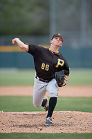 Pittsburgh Pirates relief pitcher Brandon Bingel (86) delivers a pitch during a minor league Extended Spring Training intrasquad game on April 1, 2017 at Pirate City in Bradenton, Florida.  (Mike Janes/Four Seam Images)