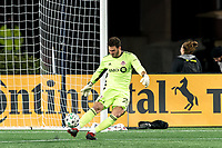 FOXBOROUGH, MA - OCTOBER 7: Alexander Bono #25 of Toronto FC takes a goal kick during a game between Toronto FC and New England Revolution at Gillette Stadium on October 7, 2020 in Foxborough, Massachusetts.