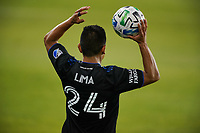SAN JOSE, CA - SEPTEMBER 19: Nick Lima #24 of the San Jose Earthquakes on a throw in during a game between Portland Timbers and San Jose Earthquakes at Earthquakes Stadium on September 19, 2020 in San Jose, California.