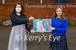 Justyna Przyborska, Presentation Milltown student who came 2nd in a national Mental Health Ireland Art and Photography Competition standing with her art teacher Máire O'Connor and her painting called Metamorphic - If You Want to Fly Like A Butterfly Don't Flap Like A Crow.