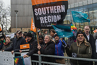 GMB support staff at Joan Roan School in South East London go on strike against plans to turn the school into an academy. They were joined on the picket line by teachers from the NEU trade union. 29-11-18