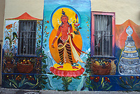 "San Francisco, California, USA. Mission District, Balmy Street Mural ""Manjushri"", Tibetan Buddhist Deity of Wisdom,  Dedicated to Dalai Lama, by Marta Ayala."