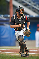 Batavia Muckdogs catcher Michael Hernandez (4) backs up a play during a game against the Williamsport Crosscutters on August 3, 2017 at Dwyer Stadium in Batavia, New York.  Williamsport defeated Batavia 2-1.  (Mike Janes/Four Seam Images)