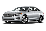 Stock pictures of low aggressive front three quarter view of 2020 Volkswagen Passat SE 4 Door Sedan Low Aggressive