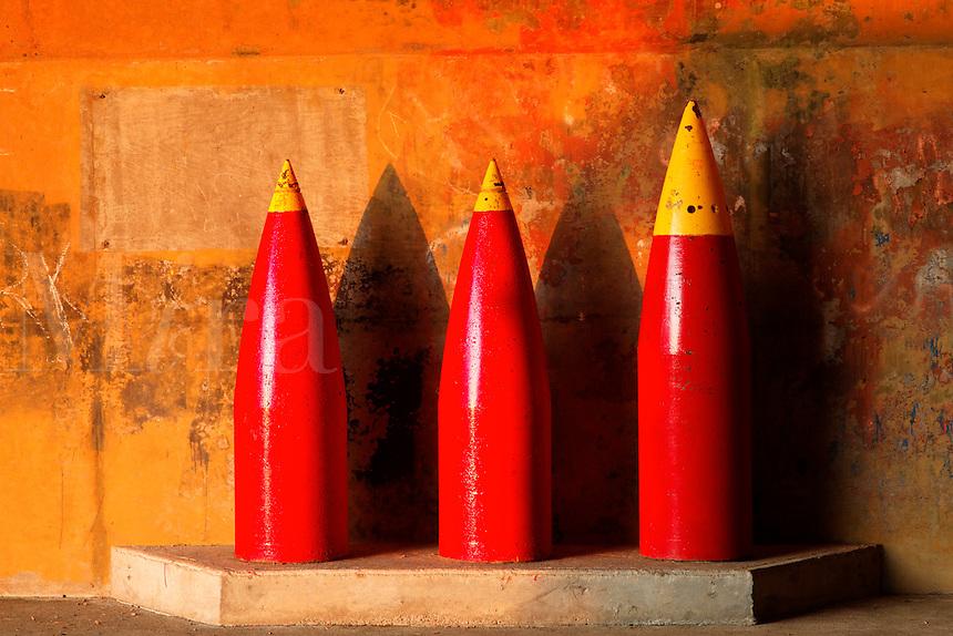 16-inch artillery shells standing at Historic Camp Hayden, Salt Creek Recreation Area, Clallam County, Washington, USA